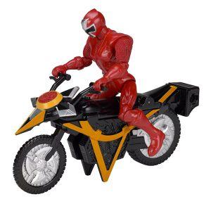 Bandai Figurine Power Rangers avec véhicule Mega Morph Ninja Steel : Rouge
