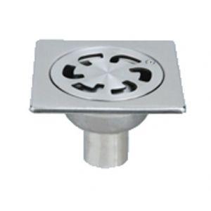 Lazer Siphon de sol inox Solusec 100x100 mm - sortie verticale Ø40