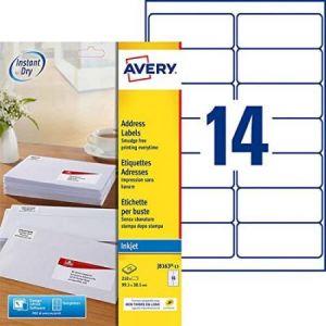Image de Avery-Zweckform J8163-15 - 210 étiquettes Jet d'encre blanches, format 99,1 x 38,1 mm (15 feuilles / cdt)