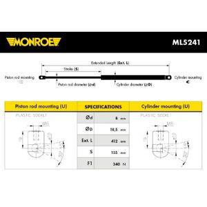 Monroe ML5241 Ressort pneumatique, coffre - 1 pièce