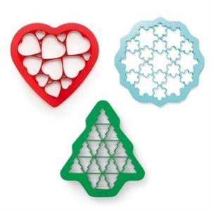Lékué Kit 3 emporte-pièces forme coeur, flocon, sapin