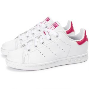 Adidas Stan Smith - Chaussures - Mixte Enfant - Blanc (Footwear White/Footwear White/Bold Pink 0) - 34 EU