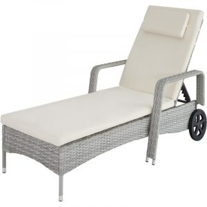 TecTake Bain de soleil métal 6 positions avec roulettes - chaise longue, transat bain de soleil, transat jardin - gris clair