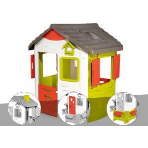 Smoby Cabane enfant Neo Jura Lodge + Cheminée + Porte maison + Espace jardin