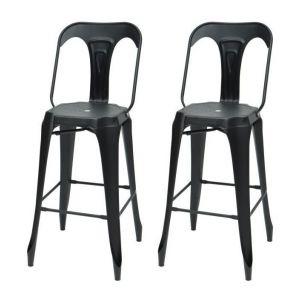 KRAFT Claire Lot de 2 chaises de bar - Métal noir mat - Style industriel - L 47 x P 55 cm - Assise H 75.5cm - Métal noir mat - Assise L 47 x P 55 cm hauteur d'assise 75.5cm - Lot de 2