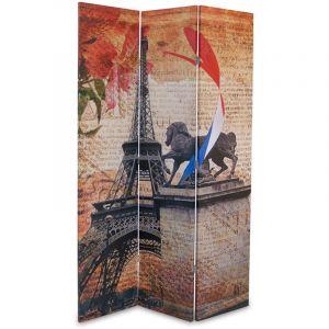 Pegane Paravent en bois avec toile imprimé Tour Eiffel de 3 pans -