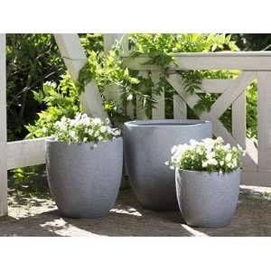Beliani 3 cache-pots gris Kannia