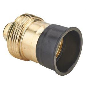 Debflex Douille E27 métal - En acier laitonné - Collerette bakelite - Culot : E27 - Tension : 250 V - Intensité : 4 A.