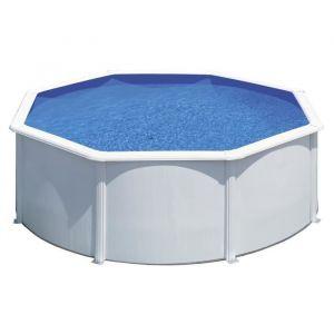 Gre Kit piscine hors-sol ronde en acier Wet Ø3,50x1,20 m - Liner bleu - Structure en acier prélaqué de 45/100 - Volume d'eau : 11 m³ - Lliner bleu 30/100 - Dimensions : Ø3,50x1,20 m.