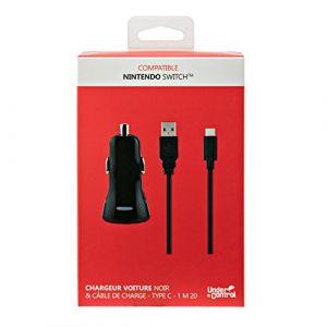 Under Control Chargeur voiture 2A + Câble de charge USB TYPE C - Compatible Nintendo SWITCH