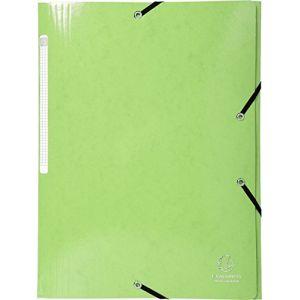 Exacompta 55823E - Chemise à élastique 3 rabats IDERAMA, pelliculée, grande capacité, coloris vert anis
