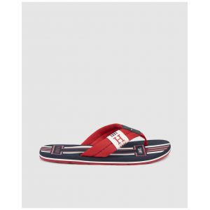 Tommy Hilfiger Badge Textile Beach Sandal, Tongs Homme, Rouge (Tango Red 611), 45 EU