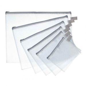 Majuscule JPC Lot de 5 Pochettes zippée en PVC renforcé Semi Transparente 13 x 17 cm