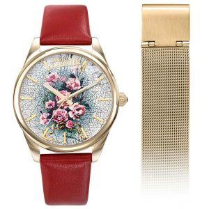 Jean-Paul Gaultier Coffret Montre 8506704 - Cuir Rouge Acier Doré Femme + Bracelet Acier Milanais Interchangeable