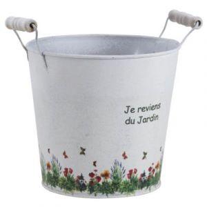 Aubry Gaspard Cache pot zinc Je reviens du jardin -