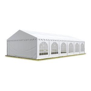 Intent24 TOOLPORT Tente Barnum de Réception 5x12 m ignifugee PREMIUM Bâches Amovibles PVC 500 g/m² blanc Cadre de Sol Jardin.FR