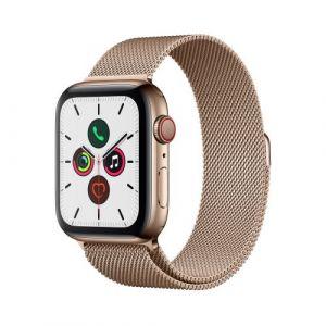 Apple Watch Watch Series 5 GPS + Cellular 44mm, Boitier Acier Inoxydable Or avec Bracelet Milanais Or
