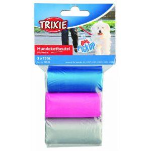 Trixie Dog pick up sacs ramasse crottes avec poignées - M, 3 rouleaux de 15 sacs, assortis