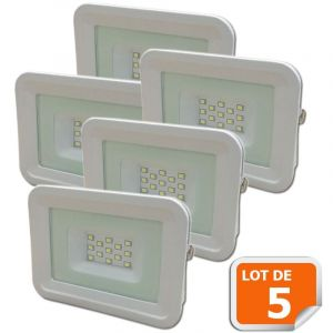 Lampesecoenergie Lot de 5 LED Projecteur Lampe 10W Blanc 6000K IP65 Extra Plat
