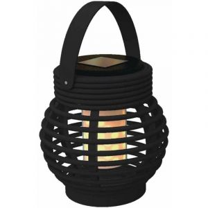 Lanterne solaire LED effet flamme Noir 13 5 cm 13,5 cm