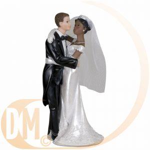 Figurine couple de mariés mixtes (18 cm)