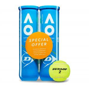 Dunlop Balles de Tennis Australian Open - Bipack 2 tubes 4 balles