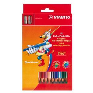 Stabilo 203/2-12 - Etui de 12 crayons de couleur triangulaires Trio épais