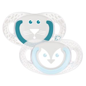 Bébé Confort 2 sucettes silicone Natural Physio Pingouin/Tigre 18/36 mois