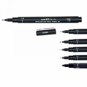 Uni Ball 02200 N - Stylo feutre technique Pin 02, pointe de 0,2 mm, encre noire