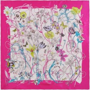 Allée du foulard Carré de soie Premium Eliana rose fuchsia
