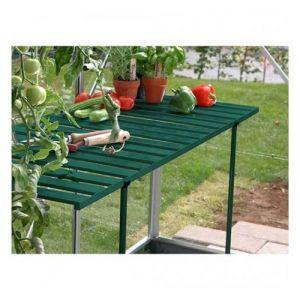 Lams Table rabattable pour serre de jardin, Couleur Laqué vert sapin - longueur : 1m20