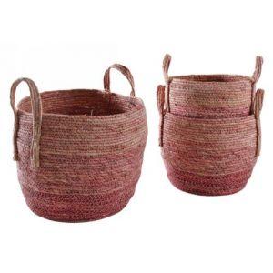 Aubry Gaspard Cache-pots en maïs teinté (Lot de 3) Rose