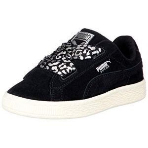 Puma Suede Heart Athluxe PS, Sneakers Basses Fille, Noir Black Silver-Whisper White 01, 30 EU