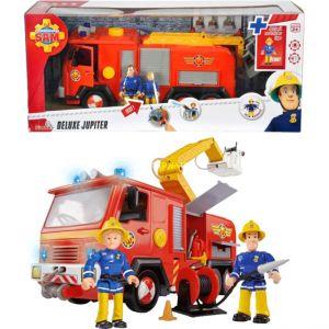 Simba Toys Deluxe Jupiter : Camion Sam le pompier lance à eau avec 2 personnages