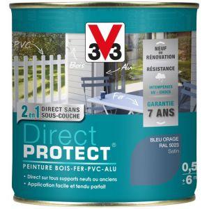 V33 Direct Protect satin bleu orage 500 ml - Peinture extérieure multi-matériaux