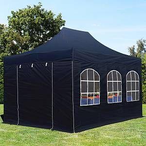 Intent24 Tente pliante tente pliable 3x4,5m - avec fenêtre PROFESSIONAL toit 100% imperméable tente de jardin pavillon noir.FR