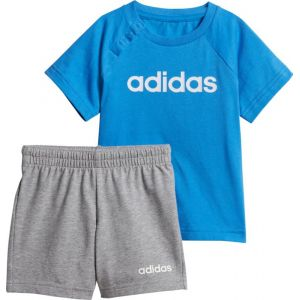 Adidas Linear Summer Ensemble Sportswear Mixte Enfant, Top:True Bottom:Medium Grey Heather/White/True Blue, FR : XXS (Taille Fabricant : 92)