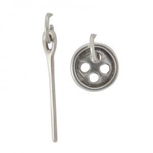 Uno de 50 PEN0017MET X - Boucles d'oreilles en acier plaqué argent