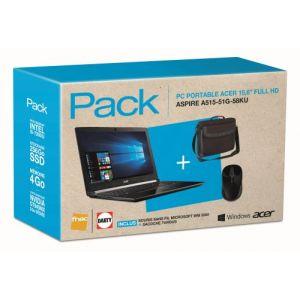 Acer Pack Fnac PC Portable Aspire 5 A515-51G-58KU 15.6 + Sacoche Targus Classic Clamshell Noir + Souris optique sans fil Microsoft 3500 Noir