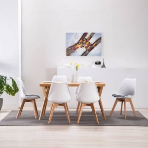 VidaXL Chaise de salle à manger 6 pcs Blanc et noir
