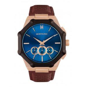 Montignac Montre MOPE19B06 - Chronographe Bracelet Cuir Marron Boitier Acier Cadran Bleu Homme