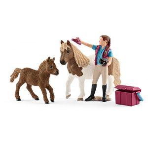 Schleich 42362 - Soigneuse de chevaux avec poneys Shetland