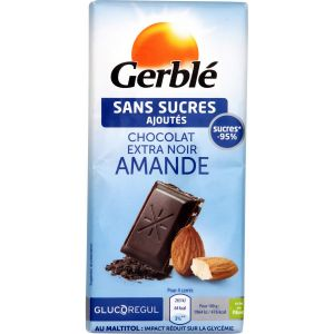Gerblé Chocolat extra noir amande sans sucres ajoutés - La tablette de 80g