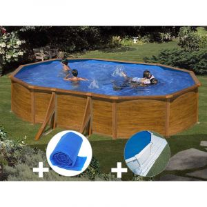 Gre Kit piscine acier aspect bois Sicilia ovale 5,27 x 3,27 x 1,22 m + Bâche à bulles + Tapis de sol