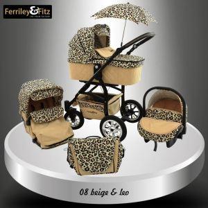 Ferriley & Fitz Q-Bus - Poussette canne combinée 3 en 1 avec nacelle et siège auto cosy