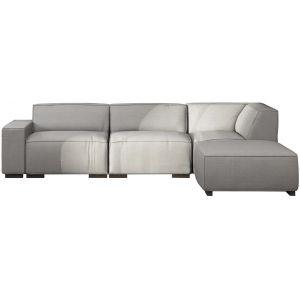 Comforium Canapé d'angle moderne avec méridienne droite en tissu gris clair