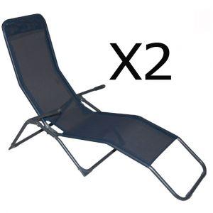 Pegane Lot de 2 Chaises longue en texaline coloris bleu fonc? - Dim : 193 x 59 x 96 cm