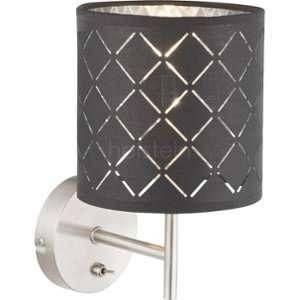 Globo Lighting Applique en nickel mat 26x15x19 cm Noir doré - Applique nickel mat - Tissu noir doré - Interrupteur - WxH:150x260 - OH:190