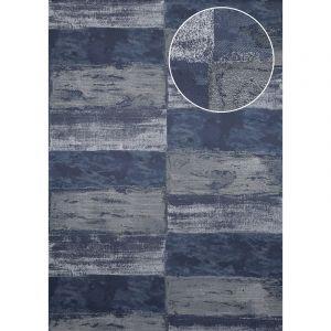 Atlas Papier peint aspect pierre carrelage ICO-2705-7 papier peint intissé lisse avec un dessin nature satiné bleu bleu-noir bleu acier argent 7,035 m2