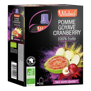 Vitabio Gourde 100% Fruits - 4 compotes pomme / goyave / cranberry